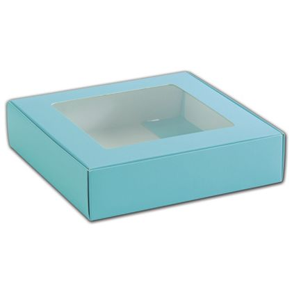 Blue Foodie Square Folding Boxes with Window, 8 x 8 x 2""