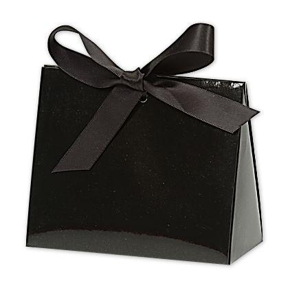 Black Gloss Purse Style Gift Card Holders, 4 1/2x2x3 3/4