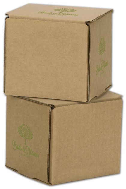 """Kraft Mailers, 1 Color/3 Sides Exterior, 4 x 4 x 4"""""""