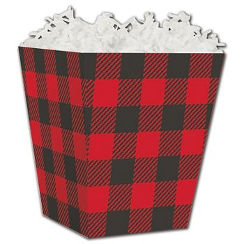 Buffalo Plaid Sweet Treat Boxes, 4 x 4 x 4 1/2""