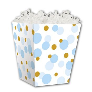 Blue & Gold Dots Sweet Treat Boxes, 4 x 4 x 4 1/2
