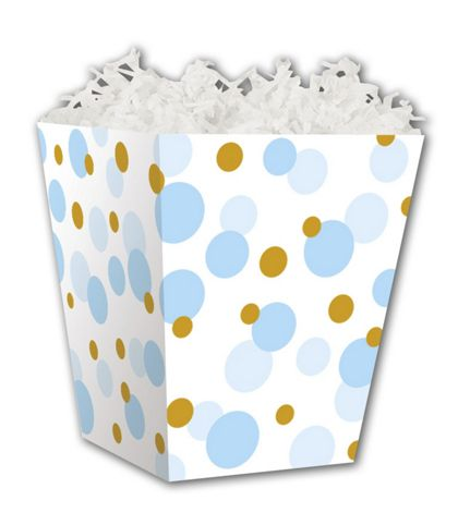 "Blue & Gold Dots Sweet Treat Boxes, 4 x 4 x 4 1/2"""