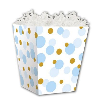 Blue & Gold Dots Sweet Treat Boxes, 4 x 4 x 4 1/2""