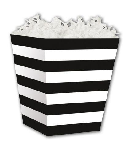 "Black & White Stripes Sweet Treat Boxes, 4 x 4 x 4 1/2"""