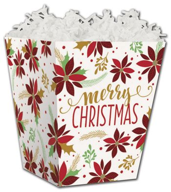 Christmas Poinsettia Sweet Treat Boxes, 4 x 4 x 4 1/2