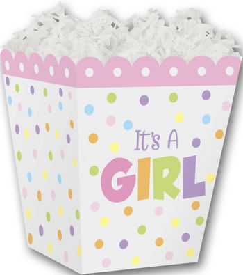 It's a Girl Sweet Treat Boxes, 4 x 4 x 4 1/2