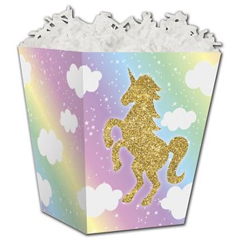 Glitter Unicorn Sweet Treat Boxes, 4 x 4 x 4 1/2""