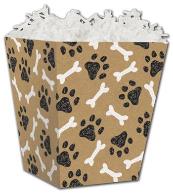 Kraft Paw Prints Sweet Treat Boxes, 4 x 4 x 4 1/2