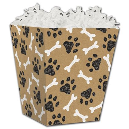 Kraft Paw Prints Sweet Treat Boxes, 4 x 4 x 4 1/2""