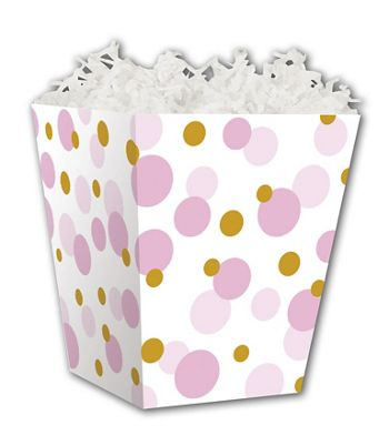 Pink & Gold Dots Sweet Treat Boxes, 4 x 4  x 4 1/2