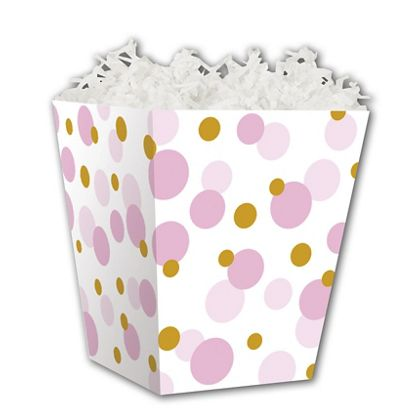 Pink & Gold Dots Sweet Treat Boxes, 4 x 4 x 4 1/2""
