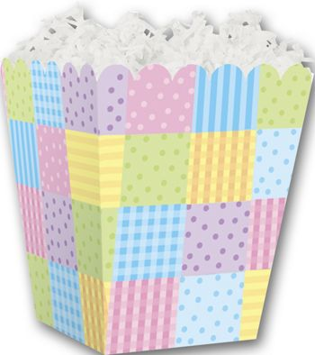 Pastel Patchwork Sweet Treat Boxes, 4 x 4 x 4 1/2