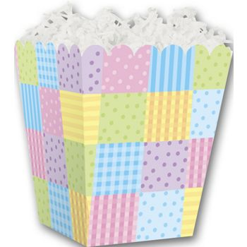 Pastel Patchwork Sweet Treat Boxes, 4 x 4 x 4 1/2""