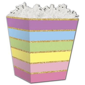Rainbow Stripes Sweet Treat Boxes, 4 x 4 x 4 1/2""