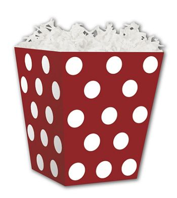 Red & White Dots Sweet Treat Boxes, 4 x 4  x 4 1/2