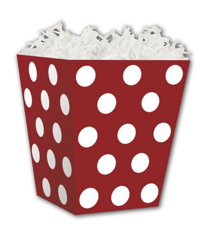 Red & White Dots Sweet Treat Boxes, 4 x 4 x 4 1/2""