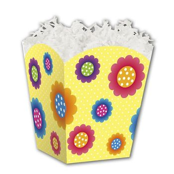 Spring Flowers Sweet Treat Boxes, 4 x 4 x 4 1/2