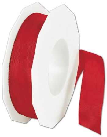 Wire-Edge Lyon Holiday Red Ribbon, 1
