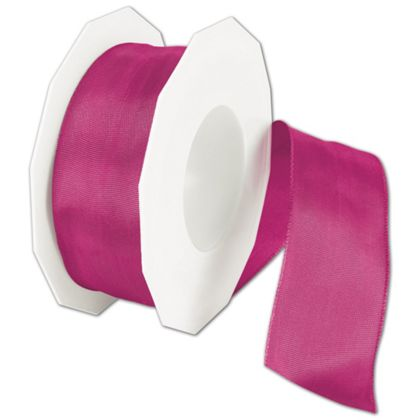 "Wire-Edge Lyon Magenta Ribbon, 1 1/2"" x 27 Yds"