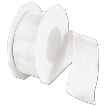 "Wire-Edge Lyon White Ribbon, 1 1/2"" x 27 Yds"