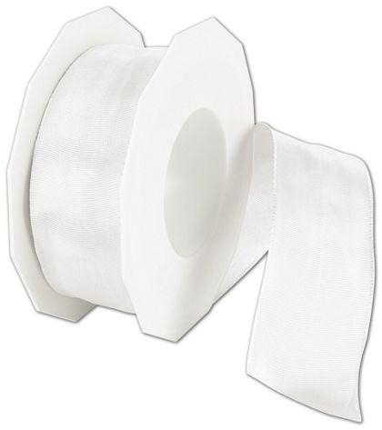 """Wire-Edge Lyon White Ribbon, 1 1/2"""" x 27 Yds"""