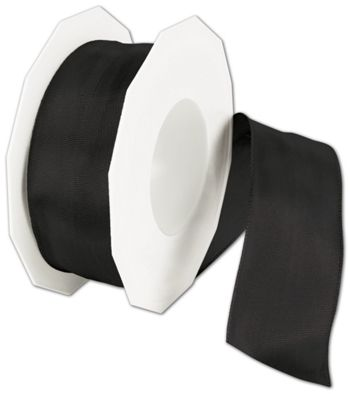 Wire-Edge Lyon Black Ribbon, 1 1/2