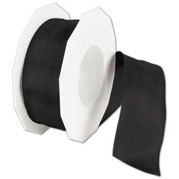 "Wire-Edge Lyon Black Ribbon, 1 1/2"" x 27 Yds"