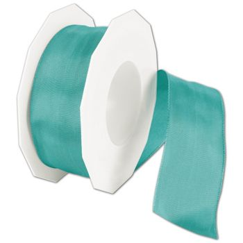 Wire-Edge Lyon Dark Mint Ribbon, 1 1/2