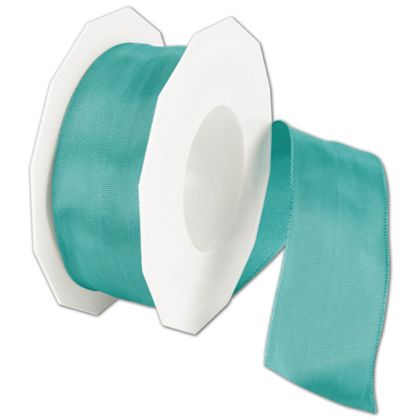 "Wire-Edge Lyon Dark Mint Ribbon, 1 1/2"" x 27 Yds"