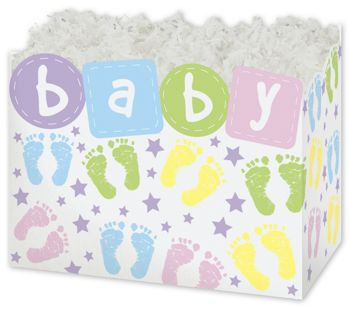 Baby Steps Gift Basket Boxes, 10 1/4 x 6 x 7 1/2