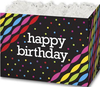Happy Birthday Gift Basket Boxes, 10 1/4 x 6 x 7 1/2