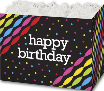 Happy Birthday Gift Basket Boxes, 10 1/4 x 6 x 7 1/2""