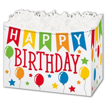 Birthday Banner Gift Basket Boxes, 10 1/4 x 6 x 7 1/2