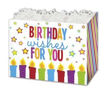 Birthday Wishes Gift Basket Boxes, 10 1/4 x 6 x 7 1/2