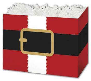 Santa's Belt Gift Basket Boxes, 10 1/4 x 6 x 7 1/2