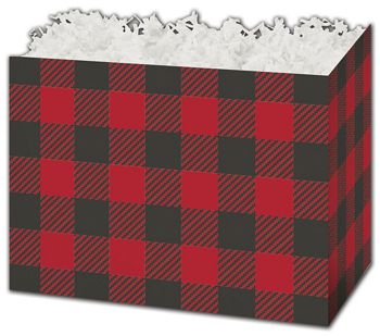 Buffalo Plaid Gift Basket Boxes, 10 1/4 x 6 x 7 1/2