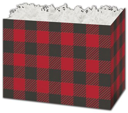 Buffalo Plaid Gift Basket Boxes, 10 1/4 x 6 x 7 1/2""