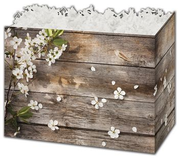 Rustic Blossoms Gift Basket Boxes, 10 1/4 x 6 x 7 1/2