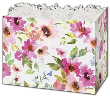 Watercolor Bouquet Gift Basket Boxes, 10 1/4 x 6 x 7 1/2
