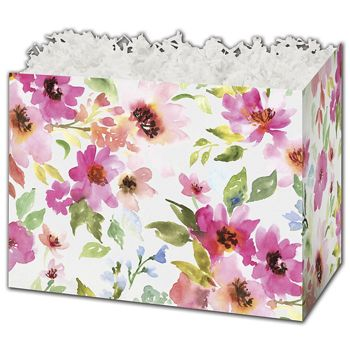 Watercolor Bouquet Gift Basket Boxes, 10 1/4 x 6 x 7 1/2