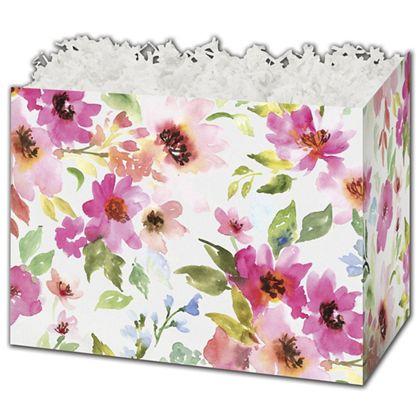 """Watercolor Bouquet Gift Basket Boxes, 10 1/4 x 6 x 7 1/2"""""""
