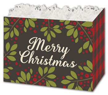 Christmas Plaid Gift Basket Boxes, 10 1/4 x 6 x 7 1/2