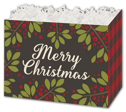Christmas Plaid Gift Basket Boxes, 10 1/4 x 6 x 7 1/2""