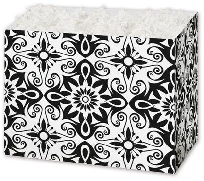 Black & White Medallions Gift Basket Boxes, 10 1/4x6x7 1/2