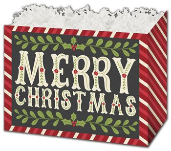 Christmas Greetings Gift Basket Boxes, 10 1/4 x 6 x 7 1/2