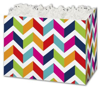Chevron Chic Gift Basket Boxes, 10 1/4 x 6 x 7 1/2