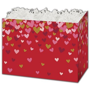 Confetti Hearts Gift Basket Boxes, 10 1/4 x 6 x 7 1/2