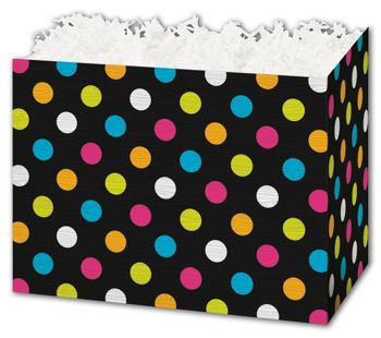 Designer Dots Gift Basket Boxes, 10 1/4 x 6 x 7 1/2