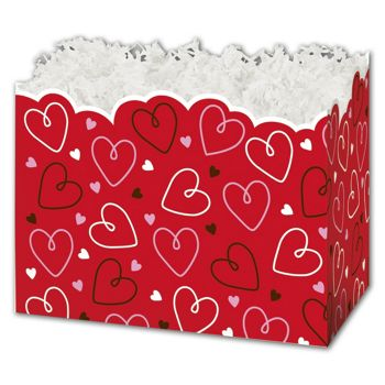 Doodle Hearts Gift Basket Boxes, 10 1/4 x 6 x 7 1/2