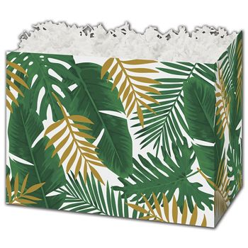 Palm Fronds Gift Basket Boxes, 10 1/4 x 6 x 7 1/2